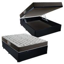 Cama Box Baú Casal Colchão Mola Bonnel Belos Sonhos + Box Sintético 61x138x188 -