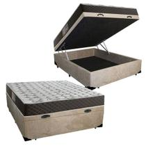 Cama Box Baú Casal Colchão Mola Bonnel Belos Sonhos + Box Suede 61x138x188 -