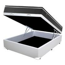 Cama Box Baú Casal Colchão Mola Bonnel + Box Sintético Branco Sp Moveis 59x138x188 - Sp Móveis