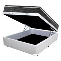 Cama Box Baú Casal Colchão Mola Bonnel + Box Sintético Branco Sp Moveis 65X138X188 - Sp Móveis
