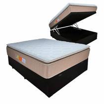 Cama Box Baú Casal Colchão Ortopédico PillowTop 138x188x69cm BEGE - Emperor Relaflex -