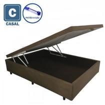 Cama Box Baú Casal em suede preto com Pistão a gás - 138x188 - Acolchões