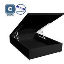 Cama Box Baú Casal em suede preto com Pistão a gás - 138x188 - Acolchoes