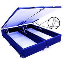 Cama Box Baú  Casal King 193 Bipartido Bello Box - Tecido Sintético Azul -