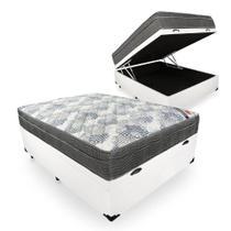 Cama Box Baú Casal Sintético Branco + Colchão Ortobom ISO Superpocket 68x138x188 -