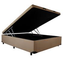 Cama Box Baú Casal - Veludo Marrom - 1,38 x 1,88 x 0,44 - V-joy -