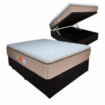 Cama Box Baú Colchão Casal Mola Ensacada Pillowtop 138x188x69cm BEGE - Empress Relaflex -