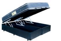 Cama Box Bau King Size Bipartido Preto + Colchão Molas Ensacadas 1,93 x 2,03 - Brasil varejos