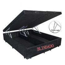 Cama Box Baú Queen Bipartido Blindado Suede Preto Com Pistão A Gás - Imperium Do Sono