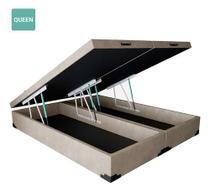 Cama Box Baú Queen Bipartido Sintético Bege 38x158x198 - Solares Moveis