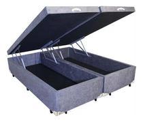 Cama Box Baú Queen Bipartido  Sintético Cinza 38x158x198 - Solares Moveis