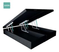 Cama Box Baú Queen Bipartido Sintético Preto 38x158x198 - Solares Moveis