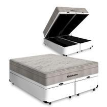 Cama Box Baú Queen Branca + Colchão De Molas Ensacadas - Ortobom - AirTech SpringPocket 158x198x72cm -