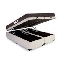 Cama Box Baú Queen Colchão Top Line Mola Bonnel + Box Bipartido Suede Bege Serra Negra 63x158x198 -
