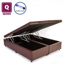 Cama Box Baú Queen size Bi partida marrom com Pistão a gás - Acolchões