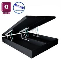Cama Box Baú Queen size Bi partida  preto com Pistão a gás - Acolchoes