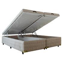 Cama Box Baú Queen Size Infinity - Linho Bege Captone - 1,58 x 1,98 x 0,43 - Carolina Matress - Apolo