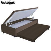 Cama Box Baú Solteiro 2 em 1 Auxiliar Bicama 88x188x45cm Suede Marrom VOTOBOX -