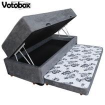 Cama Box Baú Solteiro 3 em 1 Conjugado de Espuma c/ Auxiliar 88x188cm Bicama VOTOBOX Suede Cinza -