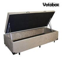 Cama Box Baú Solteiro 88x188cm VOTOBOX Suede Bege -