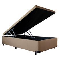 Cama Box Baú Solteiro Americano - Camurca Marrom - 0,96 x 2,03 x 0,44 - V-joy -