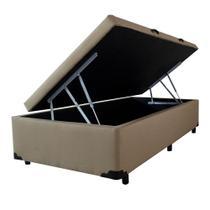 Cama Box Baú Solteiro - Camurca Marrom - 0,88 x 1,88 x 0,44 - V-joy -