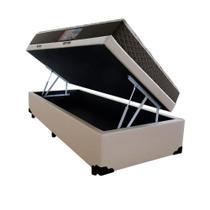 Cama Box Baú Solteiro Colchão Mola Bonnel Acolchões + Box Sintético 61x88x188 -