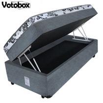 Cama Box Baú Solteiro Conjugado de Espuma 78x188x63cm Couríno Linho Cinza VOTOBOX -