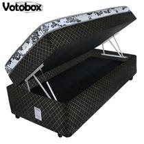 Cama Box Baú Solteiro Conjugado de Espuma 78x188x63cm Matelado Preto VOTOBOX -