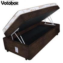 Cama Box Baú Solteiro Conjugado de Espuma 78x188x63cm Suede Marrom VOTOBOX -