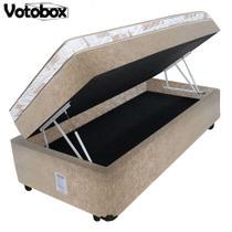 Cama Box Baú Solteiro Conjugado de Espuma 88x188x63cm Suede Bege VOTOBOX -