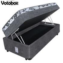 Cama Box Baú Solteiro Conjugado de Espuma 88x188x63cm Suede Cinza VOTOBOX -