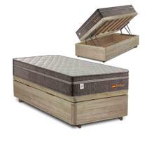 Cama Box Baú Solteiro Rústica + Colchão de Molas Superlastic - Plumatex - Valencia - 88x188x72cm - Lucas Home