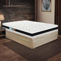 Cama Box Baú Viúva Rústica + Colchão De Espuma D45 - Castor - Black White Double Face 128x188x69cm -