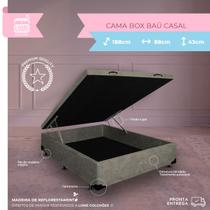 Cama Box Casal Baú - Estrutura Blindada - Suede Bege - 188X138X38 - Biobox