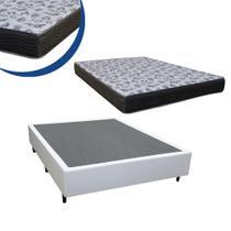 Cama Box Casal Colchão Espuma D45 Bordado + Box Sintético Branco Sp Móveis 64x138x188 -