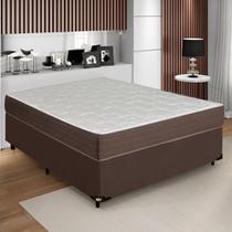 Cama Box Casal Colchão Molas Verticoil e Box Coil Marrom 138x188x58cm - Comfort Prime
