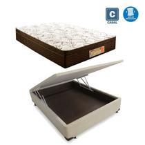 Cama Box casal com baú bege + Colchão Molas ensacada 1,38 x 1,88 x 24 cm - A Colchoes