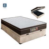 Cama Box casal com baú + Colchão Molas Bonnel 1,38 x 1,88 x 24 cm - A colchoes