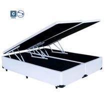 Cama Box Casal com Bau Pistão a gás branco Bipartido - 138x188 - Acolchões