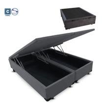 Cama Box Casal com Bau Pistão a gás cinza suede Bipartido - 138x188 - Acolchoes