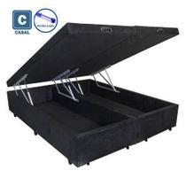 Cama Box Casal com Bau Pistão a gás preto suede Bipartido - 138x188 - Acolchoes