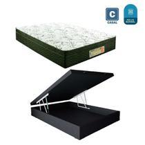 Cama Box casal com baú preto  + Colchão Molas bonnel - A Colchoes