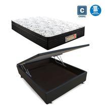 Cama Box casal com baú preto + Colchão Molas ensacada 1,38 x 1,88 x 24 cm - A Colchoes