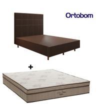 Cama Box Casal com Colchão Ortobom e Cabeceira 138x188x25cm - Móveis Digital -
