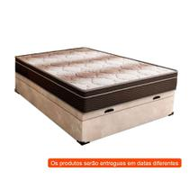 Cama Box Casal Premium com Baú Suede Pena Bege com Colchão Light Ortopédico D28 Marrom - Mobly