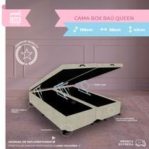 Cama Box Casal Queen Baú - Estrutura Blindada - Suede Bege - 198x158x38 - Biobox