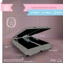 Cama Box Casal Queen Baú - Estrutura Blindada - Suede Cinza - 198x158x38 - Biobox