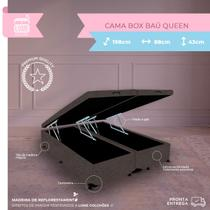 Cama Box Casal Queen Baú - Estrutura Blindada - Suede Marrom - 198x158x38 - Biobox