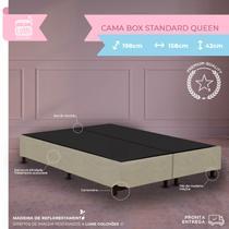 Cama Box Casal Queen Standard - Estrutura Blindada - Suede Bege - 198x158x30 - Biobox